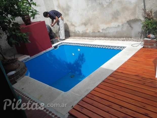 Piscina mini Con DECK de MADERA